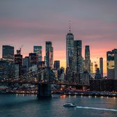 Sunset over Brooklyn Bridge and Lower Manhattan