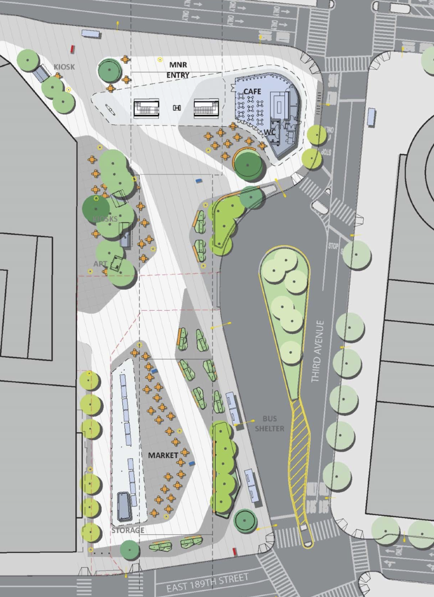 Fordham Plaza, schematic by Grimshaw Architects